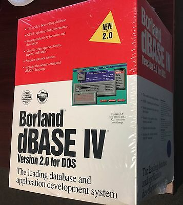 NEW Borland dBase IV Version2.0 for DOS, SEALED by Borland, Seal has not opened!