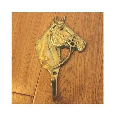 "Vintage brass horse coat hook wall hanging home decor 6"" equine equestrian"
