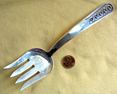 Old Southwestern Native Silver 7.5-Inch SERVING FORK Overlay 57 Grams Unmarked