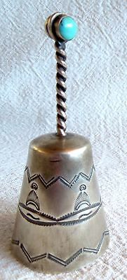 Vintage NAVAJO TABLE BELL Sterling Silver *Turquoise Top* 33.4 Grams *FREE SHIP*