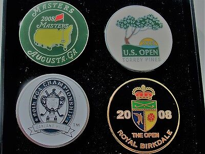 Boxed set of  4 FLAT1 in Golf ball marker 2008 Majors US Open, PGA, Masters etc