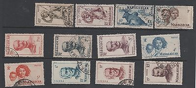 1946 MADAGASCAR & Dependencies - Colony 12 different postage stamps    G/F Used