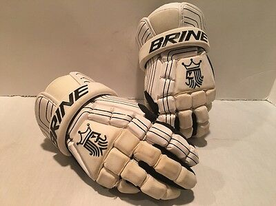 """Brine King Lacrosse Gloves 12"""" White & Black Synthetic Leather Used Condition"""