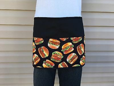 Black Food Burgers server waitress waist apron 3 pocket restaurant  Classyaprons
