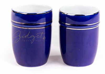Shanghai Tang 2 Small Cobalt Blue Sake Glasses Cups