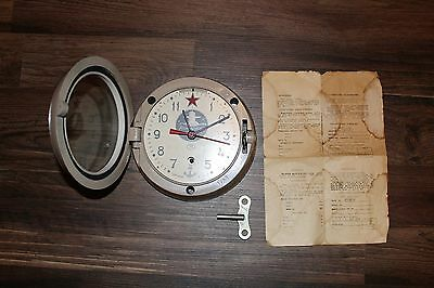 Vintage Russian Navy Submarine Wall 8-Day Clock w/Key & Paperwork