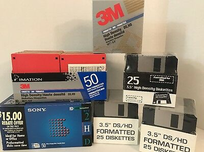 "HUGE LOT 185 Micro Floppy Disks Diskettes 3.5"" Imation 3M Sony DS HD"