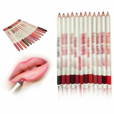 12PCS Colors Professional Lipliner Waterproof Lip Liner Pencil 15CM Makeup Set