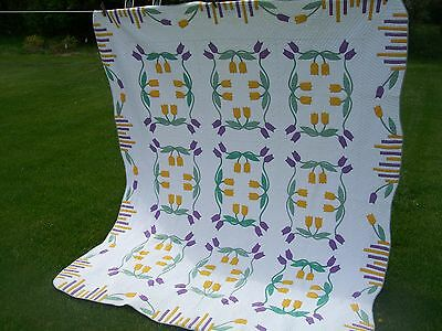 """Vintage Hand Appliqued Quilt  - Marie Webster Pattern May Tulips - 74"""" x 90"""""""