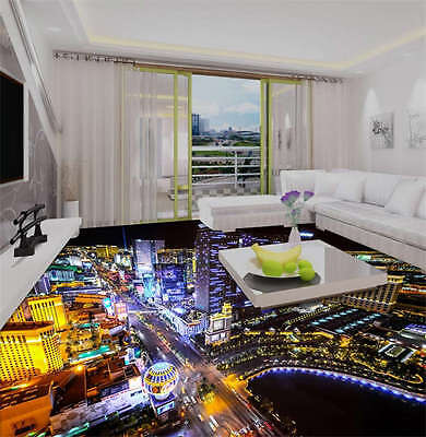 Las Vegas Night 3D Floor Mural Photo Flooring Wallpaper Home Kids Wall Decal