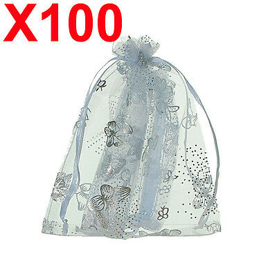 100 MEDIUM white butterfly organza gift candy bags jewellery favour pouches wrap