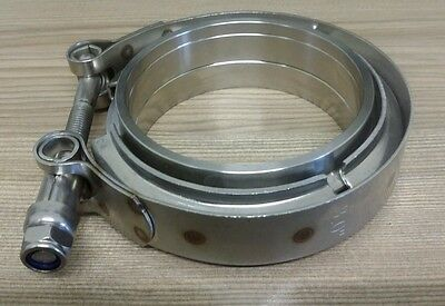 """3 inch 76mm V-band Vband Clamp + Collars, exhaust joiner stainless steel. 3"""" 3.0"""
