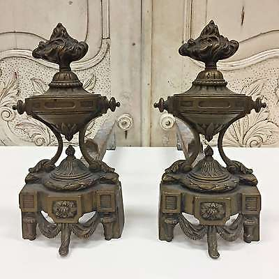 A French Pair of Antique Parisian Bronze Chenets Andirons Dainty - TM607