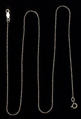 """14K Solid Yellow Gold 14.5"""" Singapore Rope Pendant Necklace Chain Youth Girls lW"""