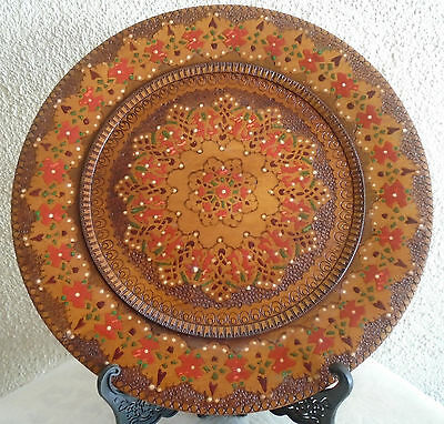 Rare Antique Home Decor Wood Hand Carved Plate Intricate Art Engraved Bali.