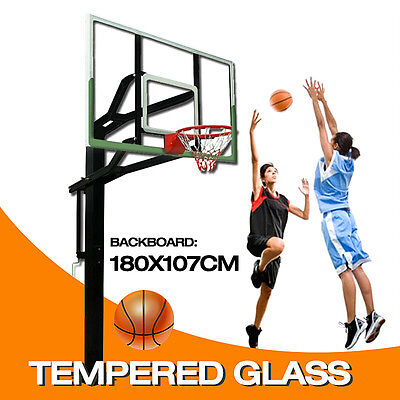 *QLD PICKUP* 72 inch In-ground Basketball System WITH Tempered Glass Backboard