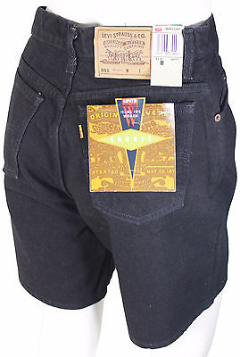 NEW VTG 90s LEVI'S 951 Relaxed Fit JEAN SHORTS High Waist Size 8 Black Deadstock