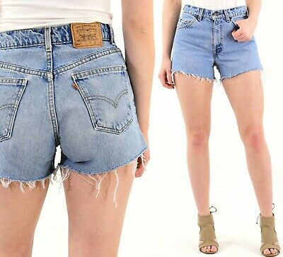 Vintage Levi's High Waist Light Wash Denim Shorts Trashed SZ 00 0 2 4 6 8 10 12