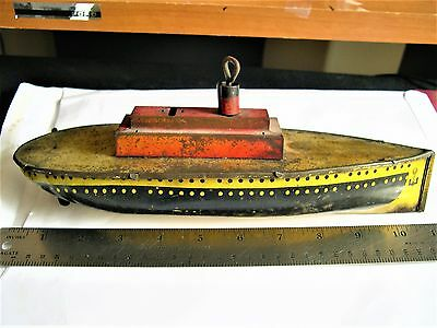 ANTIQUE TIN WIND UP TOY BOAT, OCEAN LINER?, ARNOLD?, LINSTROM?, Great to RESTORE