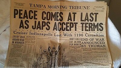 "August 15 1945 TAMPA MORNING TRIBUNE WORLD WAR II ""Peace Comes At Last""    (#79)"