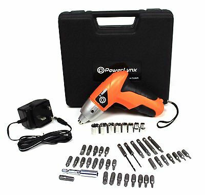 NEW Electric 4.8V Cordless Rechargeable Screwdriver Drill 42pcs Carry Case