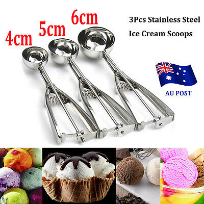 3pcs Stainless Steel Ice Cream Scoop 4 5 6cm Cookie Mash Muffin Spoon Kitchen BO