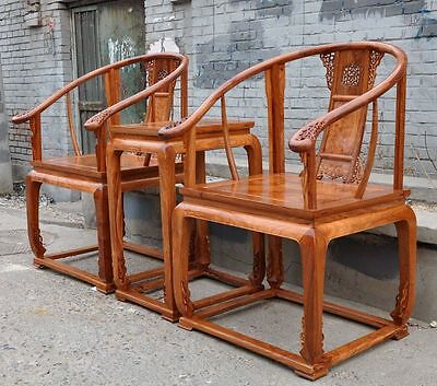 Old Chinese Rosewood Wood Seat Thrones Backrest Chair 2 Armchair
