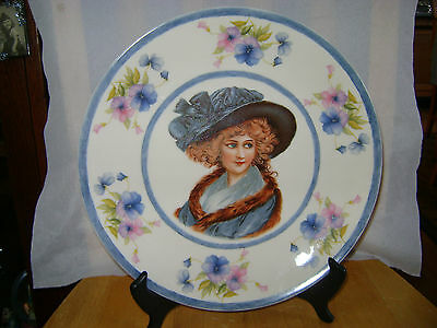 "Antique  Portrait Cabinet Plate Signed Moreau 11"" Exquisite Lady In Blue Hat"