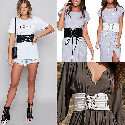 2017 Women's Lace Up Tie Up Wide Elastic Stretch Corset Belt Waistband Belts