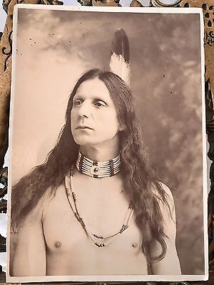 Exceptional Antique CDV of Native American Man w/ Tattoo, Feather, & Beads