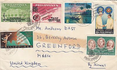 J 438 Philippines Manila 1962 air cover UK;  7 stamps; overprints