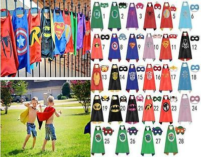 Kids Superhero Cape & Mask Boy Girl Party2 Costume Set*Superman&Batman&Spiderman