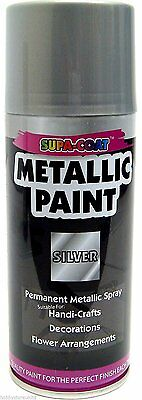 Spray paint permanent metallic silver lacquer for craft 1 can x 210ml