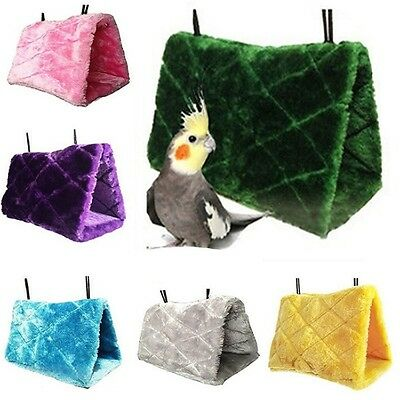 Bird Hammock Hanging Cave Cage Plush Snuggle Hut Tent Bunk Parrot Toy Multicolor