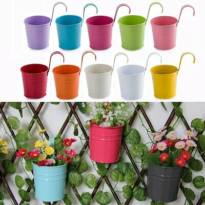 10Pcs Hanging Flowerpot Wall Buckets Plant Pot Home Garden Balcony Flower Tub