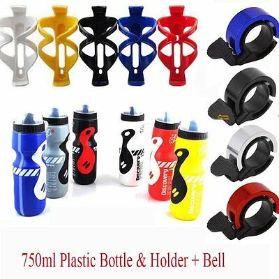Bicycle 750ml Plastic Water Drink Bottle & Cage Holder+Bike Handlebar Bell Ring
