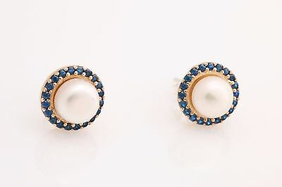 Turkish Handmade Jewelry Round Pearl Sapphire 925 Sterling Silver Stud Earrings
