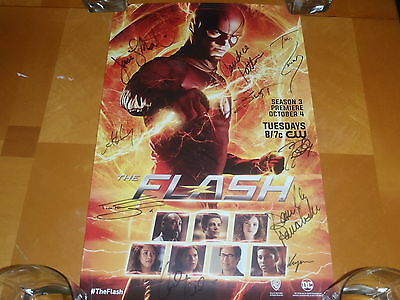 SDCC 2016 EXCLUSIVE THE FLASH POSTER SIGNED BY FULL CAST w/ Wristband WB