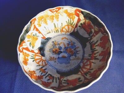Japanese Imari antique bowl with scalloped rim