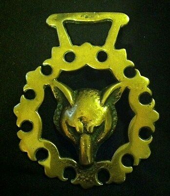 Vintage FOX HEAD IN ORNATE FRAME LONG HANGER Horse Harness Brass WOW YOUR WALLS!