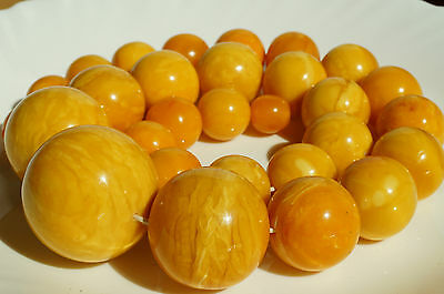 Antique royal white baltic sea natural amber necklace 234 grams, beeswax color.