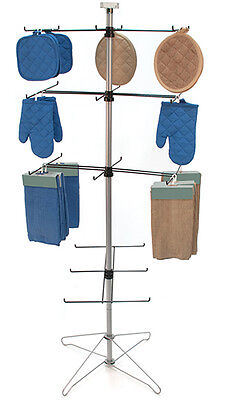 Spinning Wire Display Rack 4 Tier 24 peg Hooks Retail Store Fixture Chrome New