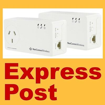 New Netcomm Np-511 Powerline Ethernet Adapter Kit Ac Foxtel Approved & Fast Post