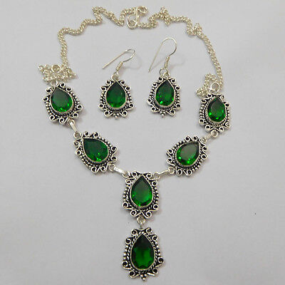 Beautiful Green Quartz Gemstone -925 Silver Plated  Jewelry Necklace+Earing