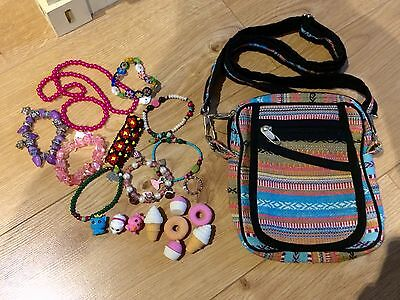 Older Girls Mixed Jewellery Bundle With Bag Erasers And Cute Figures Toys