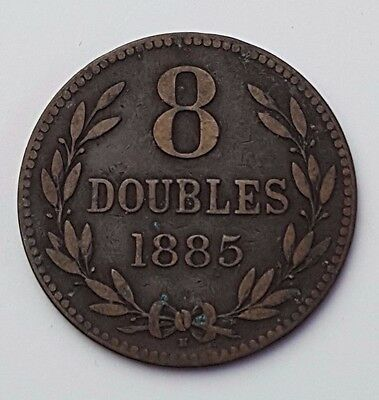 Dated : 1885 - Guernsey - Copper Coin - 8 Doubles - Rare
