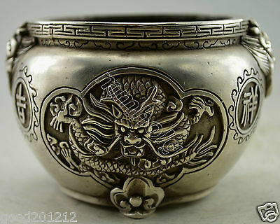 Collectible Decorated Old Handwork Silver white Copper Carved Dragon Phoenix Pot
