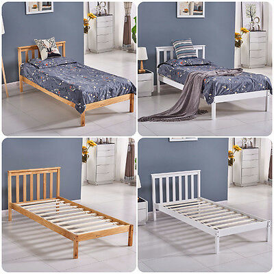 Single Bed Solid Pine, Wooden Frame with White&Wood Color, Bedroom Furniture