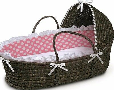 Espresso Hooded Moses Basket in Pink Polka Dot Fabric Trimmed with White Ruffle