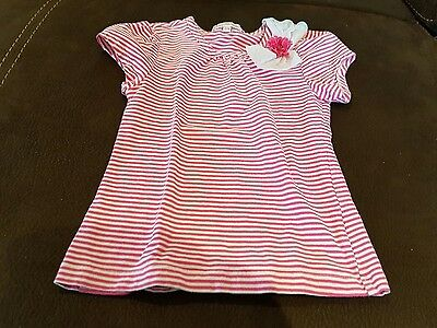 Girls Pink & White Striped T Shirt/top With Pink Flower On Shoulder - Age 6 Yrs